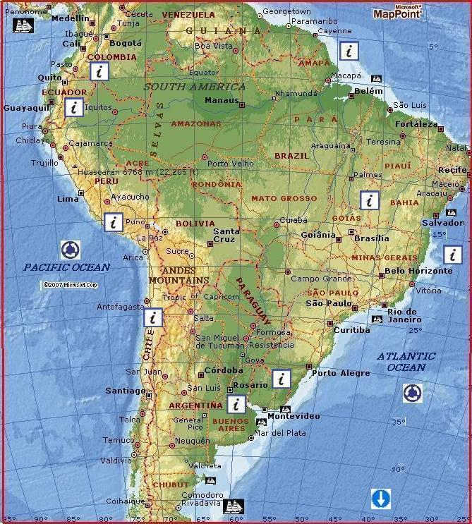 South America by MSN Maps