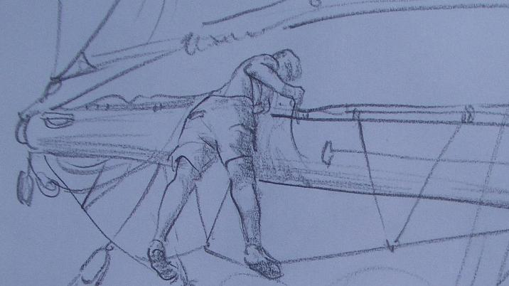 Konstantin De Oliveiry Richtera - drawing.On sts F.Chopin, working hard with sails